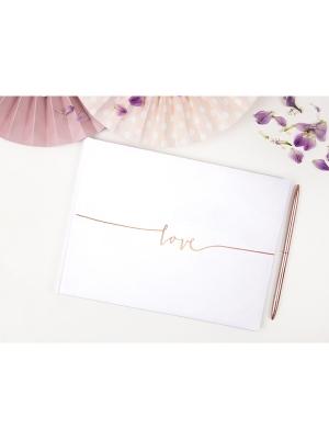22 lpp, Viesu grāmata Love, balta ar rozā zeltu, 24 x 18.5 cm