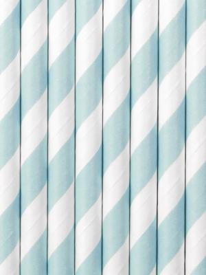 10 pcs, Paper Straws, light blue, 19.5 cm