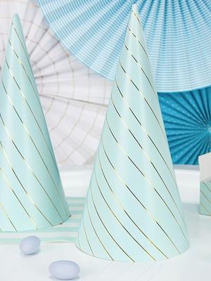 6 pcs, Party Stripes, light blue, 21 cm
