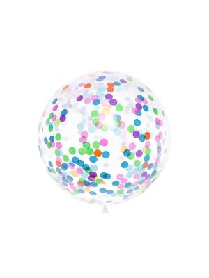 Метровый шар, прозрачный с конфетти