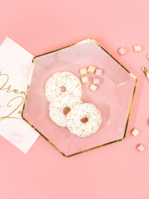 6 gab, Papīra šķīvīši, rozā ar zeltu, 23 cm
