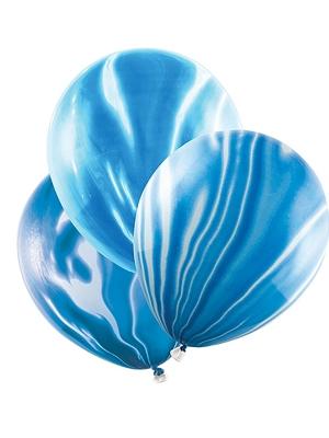 6 gab, Baloni - marmora, zili, 30 cm