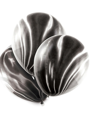 6 gab, Baloni - marmora, melns, 30 cm