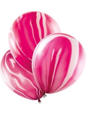 6 шт, Шары c мраморным узором, розовые, 30 см