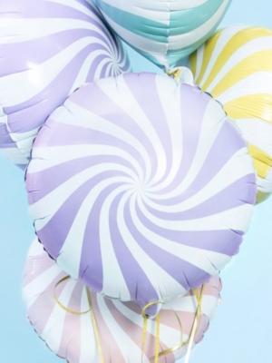 Apaļa konfekte, balta ar gaiši violetu, 45 cm
