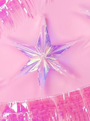 Folija zvaigzne, varavīksnes krāsas, 40 cm