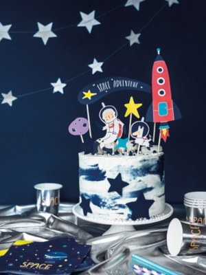 7 pcs, Cake topper Space, 9.5-24.5 cm