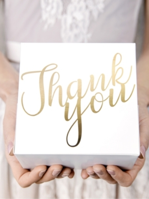 10 pcs, Decorative cake boxes - Thank you, gold, 14 x 8.5 x 14 cm