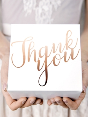 10 pcs, Decorative cake boxes - Thank you, rose gold, 14 x 8.5 x 14 cm