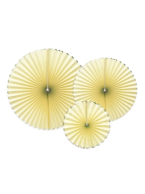3 pcs, Decorative Rosettes Yummy, light yellow with gold, 23, 32, 40 cm