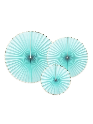 3 pcs, Decorative Rosettes Yummy, mint with gold, 23, 32, 40 cm