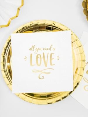 20 gab, Salvetes Mīlestība ir viss, kas jums vajadzīgs!, baltas ar zeltu, 33 x 33 cm