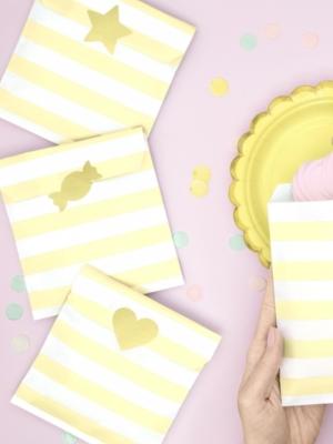 6 шт, Бумажные мешочки, белые с светло-жёлтым, 13 x 14 см