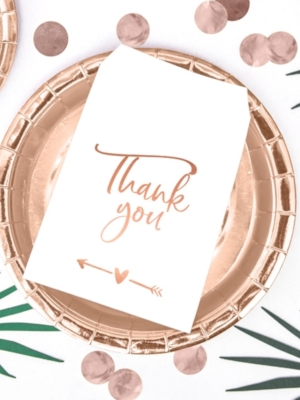 6 gab, Papīra maisiņi Thank you, balti ar rozā zeltu, 13 x 16.5 cm