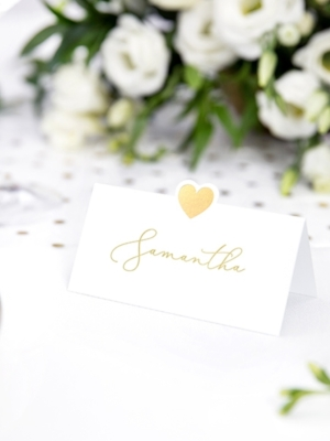 10 pcs, Place cards - Heart, gold, 10 x 5 cm