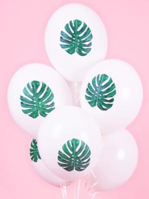 Воздушный шар Алоха - с листом, белый, 30 см