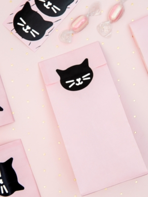6 pcs, Treat bags Cat, pink, 8 x 18 x 6 cm