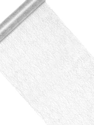 Декоративная ткань-сетка, серебристая, 36 см х 9 м
