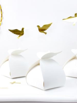 10 шт, Коробочки Крылья, белые, 8.5 x 8.5 x 14.5 см