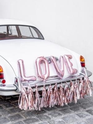 Mašīnas dekorāciju komplekts - LOVE, rozā zelts