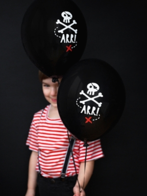 6 pcs, Balloons Pirates Party,  Black, 30 cm