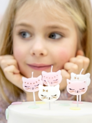 6 pcs, Birthday candles Cat, mix, 2 cm