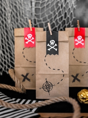 6 pcs, Treat bags Pirates Part, kraft, 8 x 18 x 6 cm