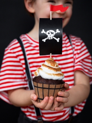 6 pcs, Cupcake kit Pirates Party, 4.8 x 7.6 x 4.6 cm