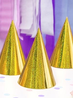 6 gab, Papīra cepures hologrāfiskās, zelta, 10 х 17 cm