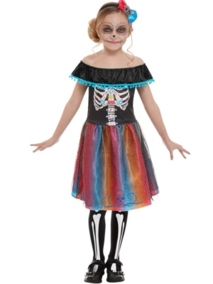 Neon Day of The Dead Girl Costume