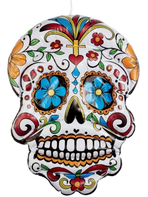 Inflatable Day of the Dead Hanging Skull, 100 cm