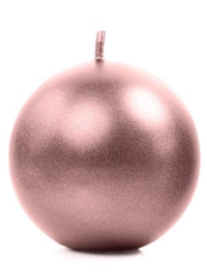 Круглая свеча, розовое-золото, 6 см