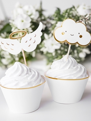 6 pcs, Cupcake toppers - Clouds and Wings, 12.5 cm