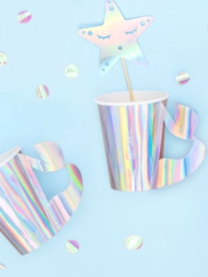6 pcs, Paper cups Mermaid, iridescent, 220ml