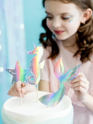 3 pcs, Cake toppers Mermaid, iridescent, 24.5 cm