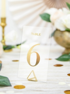 20 pcs, Tranparent table numbers, gold, 7 x 12 cm
