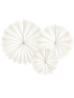 3 pcs, Decorative Rosettes, off-white, 25 cm, 34 cm, 42.5 cm