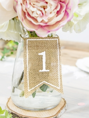 20 pcs, Burlap tabel numbers, white, 7 x 10.5 cm