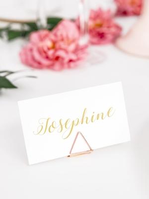 10 шт, Держатели для карточек Треугольники, розовое-золото, 2.3 см