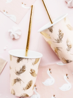 6pcs, Paper cups Lovely Swan, 220ml