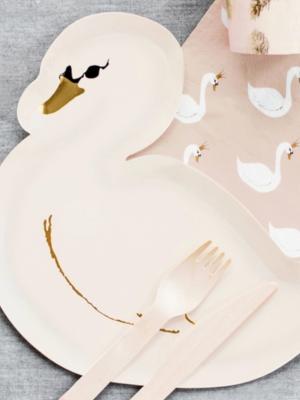 6 pcs, Plates Lovely Swan, 23.5x22.5cm