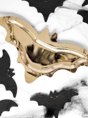 6 pcs, Paper plates Bat, gold, 37.5x18.5cm