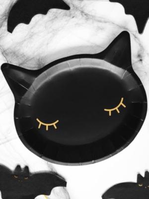 6 pcs, Paper plates Cat, black, 22x20cm