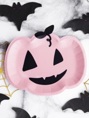 6 pcs, Plates Pumpkin, pink, 25x22cm