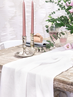 Muslin table runner, light cream, 0.70 x 5 m
