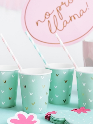 6 pcs, Paper cups Cactus, mix, 220ml