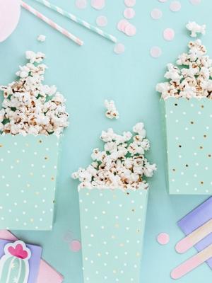 6 pcs, Boxes for popcorn, mix, 7 x 7 x 12.5 cm