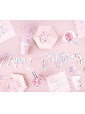 Banner Happy Birthday, iridescent, 16.5x62cm