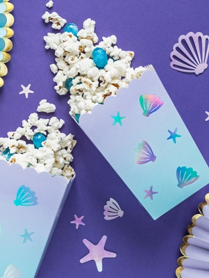 6 pcs, Boxes for popcorn Narwhal, mix, 7 x 7 x 12.5 cm