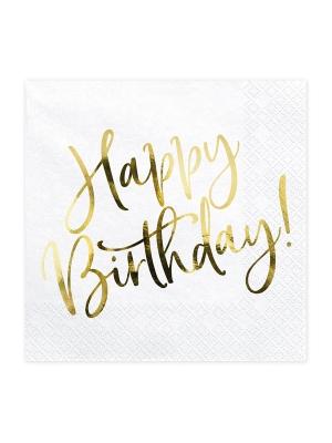 20 gab, Salvetes Happy Birthday, baltas, 33x33cm